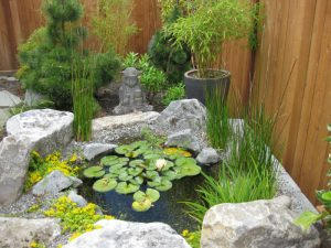 landscaping design with small pond Budha statue